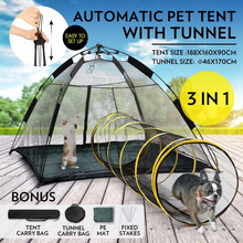 Pop-up Pup Tent Portable Pet Pent for Dogs Cats Foldable Outdoor Cat Tent with Tunnel One Step Assembly