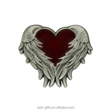 3D Heart shape with angel wing lapel pin, top quality love badge