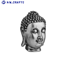 Wholesale religious statue resin silver buddha head sculpture