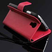 luxury leather flip wallet case for samsung galaxy s4 booklet case with stand holder