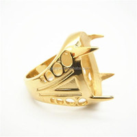 Hot Selling Titanium Jewelry in Indonesia Fashion Plated Gold Ring for Boss