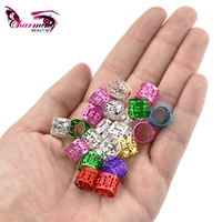 10x8mm 7 Colors Optional Colorful Rings Beads Box Braid Hair Braids Cuff Clip Dreadlock Beads Adjustable