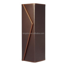 Single Bottle Brown PU Leather Wine Gift Box with Magnetic Closure