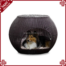 High quality dark brown PE wicker woven large dog house for sale