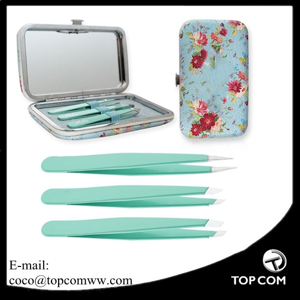 4Piece Professional Stainless Steel Tweezers Set With Travel Case