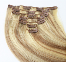 "Qingdao hair factory full head 7pcs set highlight color european remy human hair clip in hair extensions 8""-32"""