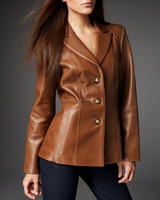 Brown Lamb-Hide Napa Leather Women's Soft Genuine Leather Descent Blazer