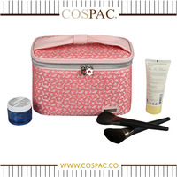 Promotional Beautiful Large Pink Floral PU With Mirror and Brush Holders Ladies Cosmetic Bag Set