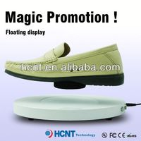 new invention ! magnetic levitating led display stand for shoe woman,peach colored shoes