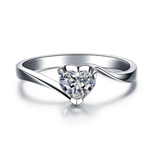Female silver heart ring fashion CZ heart wedding ring for women