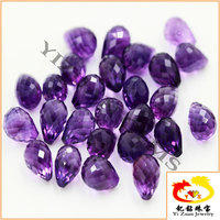 Crystal Facets cut Water Drop Shape natural amethyst beads