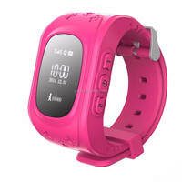 Q50 hot pink children smart watch phone for kids tracking gps