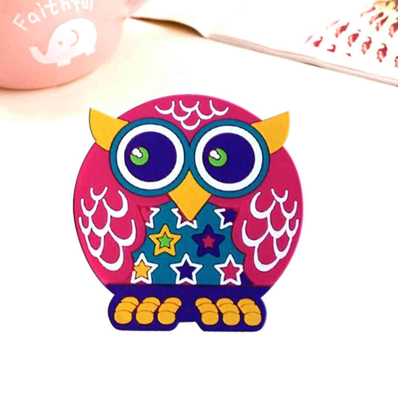 2017 design new cartoon owl plastic photo coasters