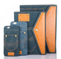 2016 New Trending Compact Jeans Case for iPad with Stand