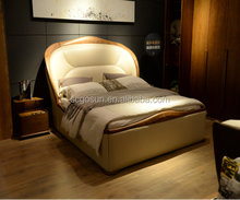 Luxury Modern Bed Frames Wooden Leather Bed bedstead