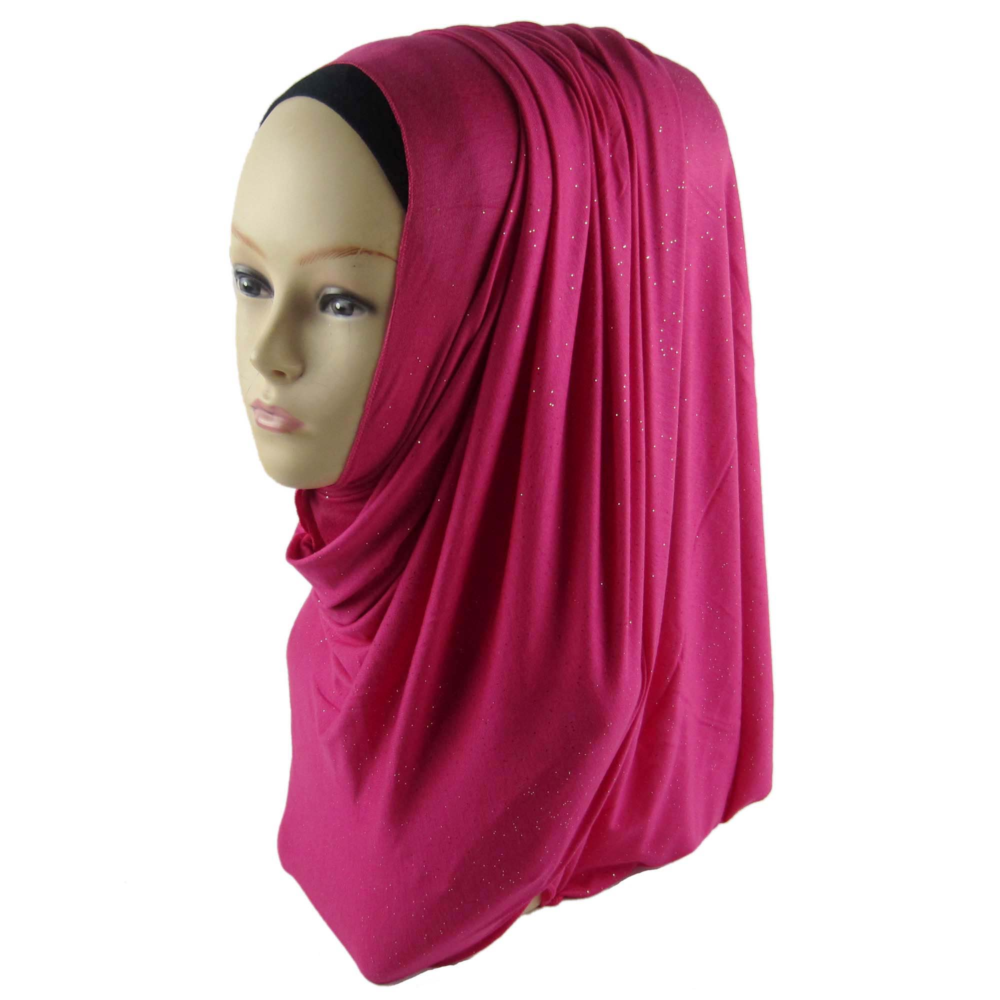 wholesale Muslim Jersey Shimmer Hijab Women Glitter Shawl Scarf Mutil Mixed Color
