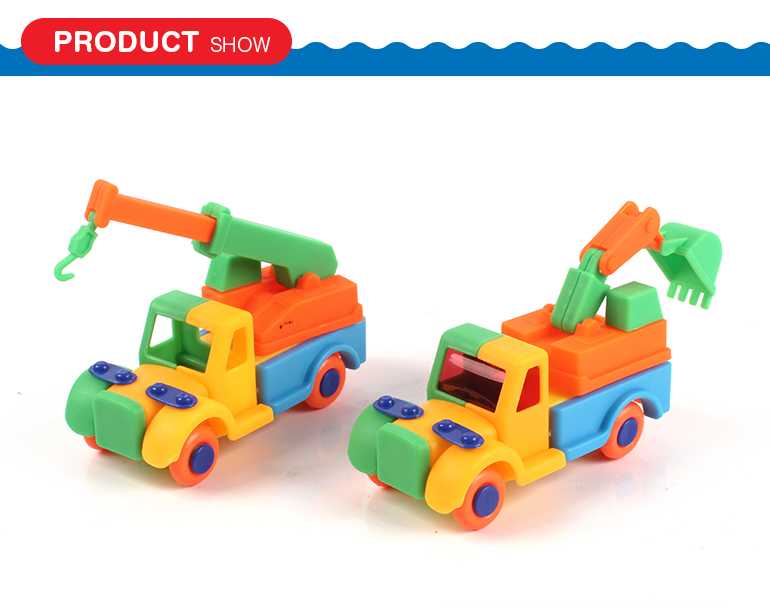 DIY construction toys crane truck excavator toy car assembly kit with safety plastic