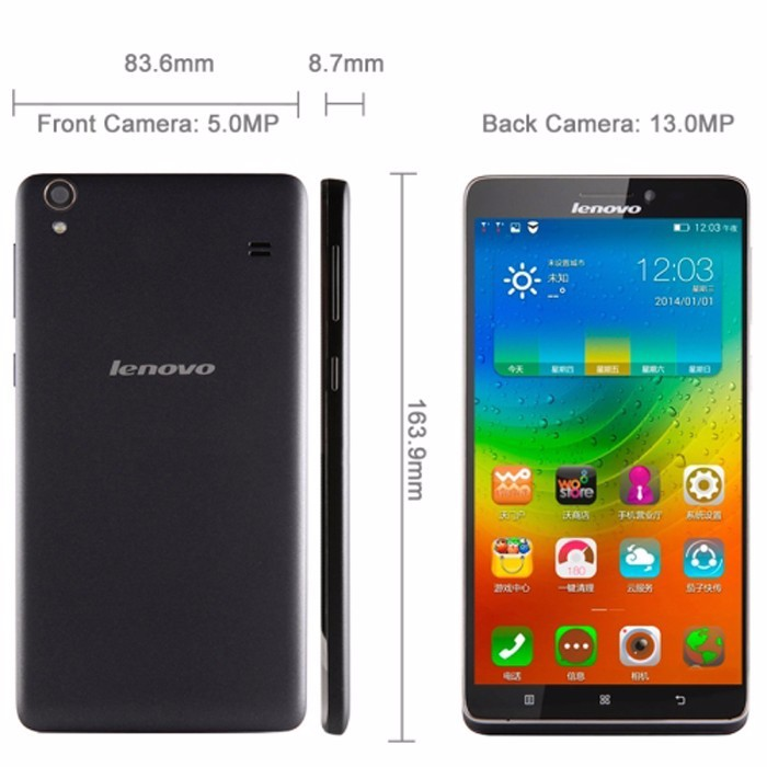 "Original lenovo A936 Note8 FDD 4G LTE Mobile Phone 6.0"" 1G RAM 8GB ROM Screen MTK6752 Octa Core 13MP Android 4.4"