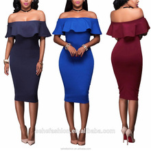 MZ92115 Low prices Casual 5colors tight sleeveless off-shoulder ruffled dress for women