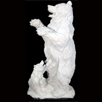White marble stone bear with kid sculpture