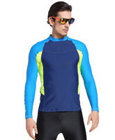 Outdoor beach surf custom print patchwork rash guards mens multi colors clothing
