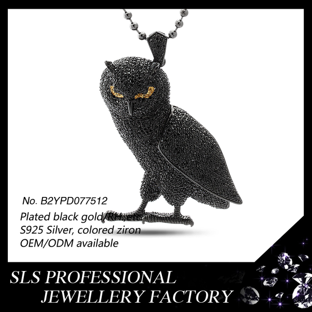 New products 2016 owl colored CZ 925 silver black gold plated fashion christams jewelry Hiphop Pendant