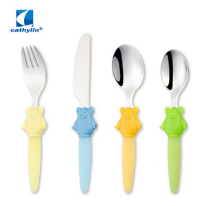 Cute plastic handle kids cutlery, stainless steel child sized flatware set