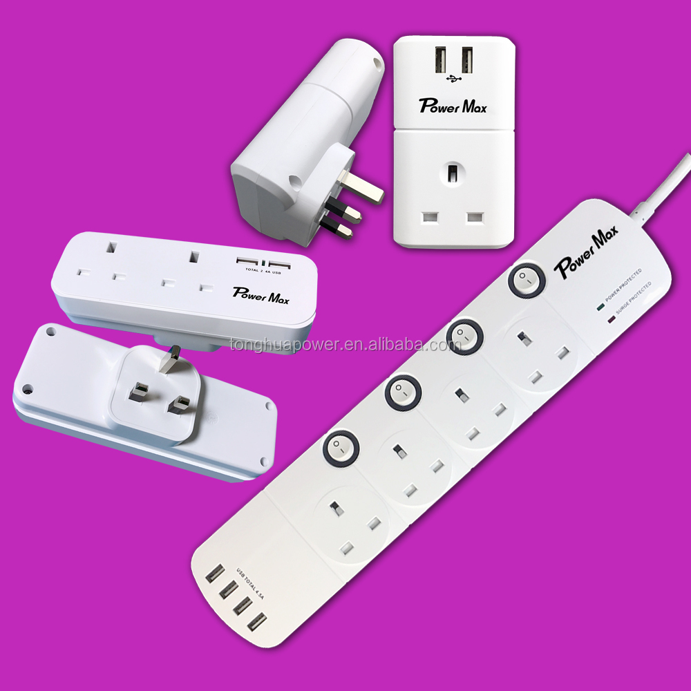Alibaba UK extension lead 4 outlet, 4 way surge protector for HK, Dubai, uk power strip with quick charge 3.0 usb port