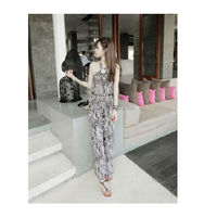 2014 summmer backless printed plus size xxl garment women pictures sexy pantyose chiffon adult jumpsuit pajama