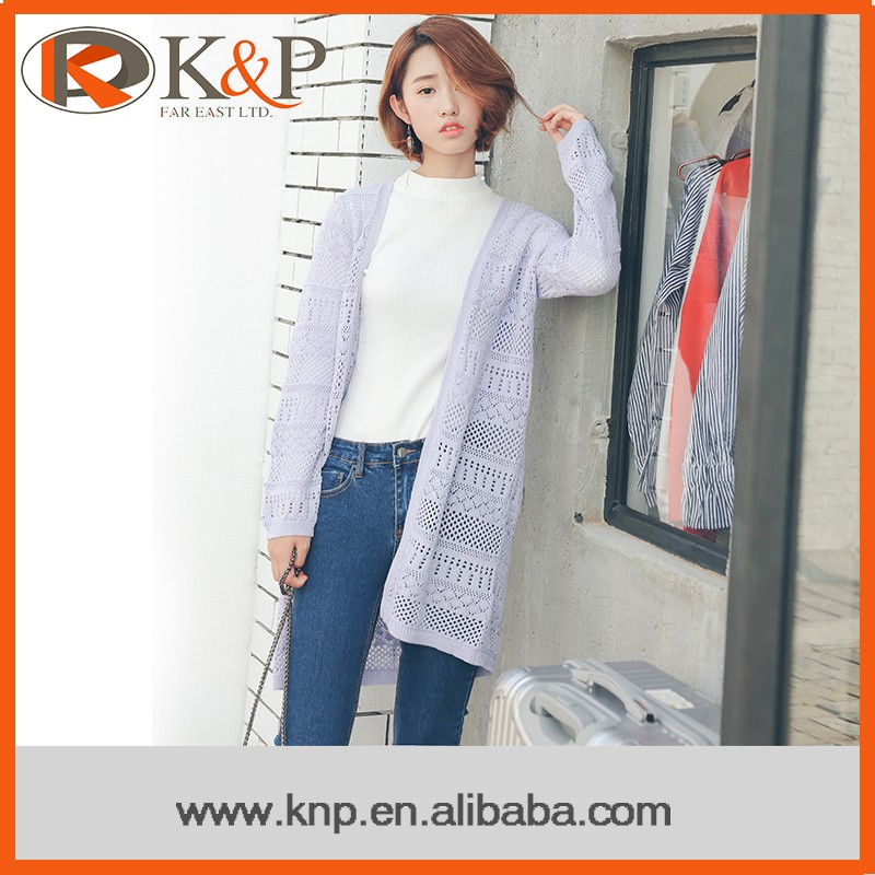 Latest Fashion Ladies Cardigan Long Sleeve Lavender Knitted Women Sweater Cardigan