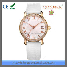 FS FLOWER - Fashion And Elegant Ladies Watches Shell Dial Inlaid Stone Watch Case