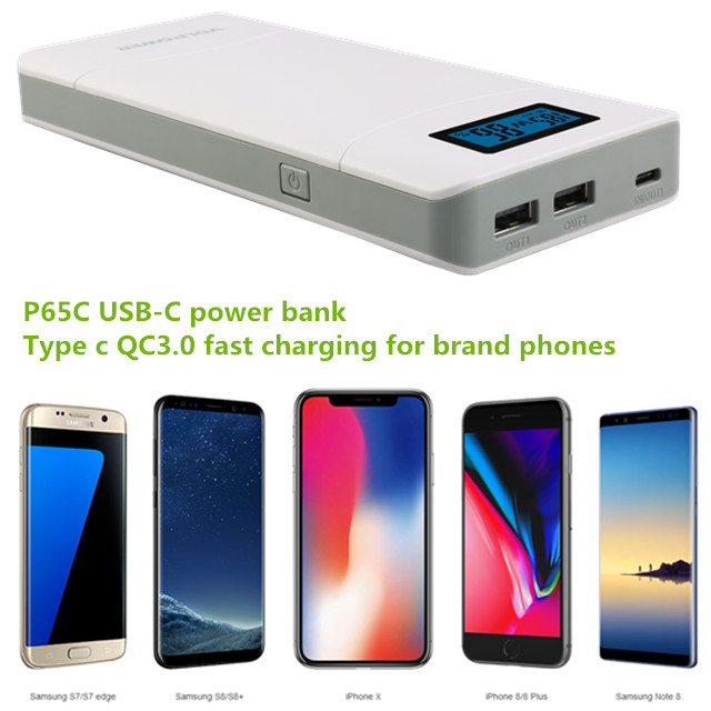Professional type c laptop charger, portable 65W type c mobile power banks with QC3.0 PD fast charging