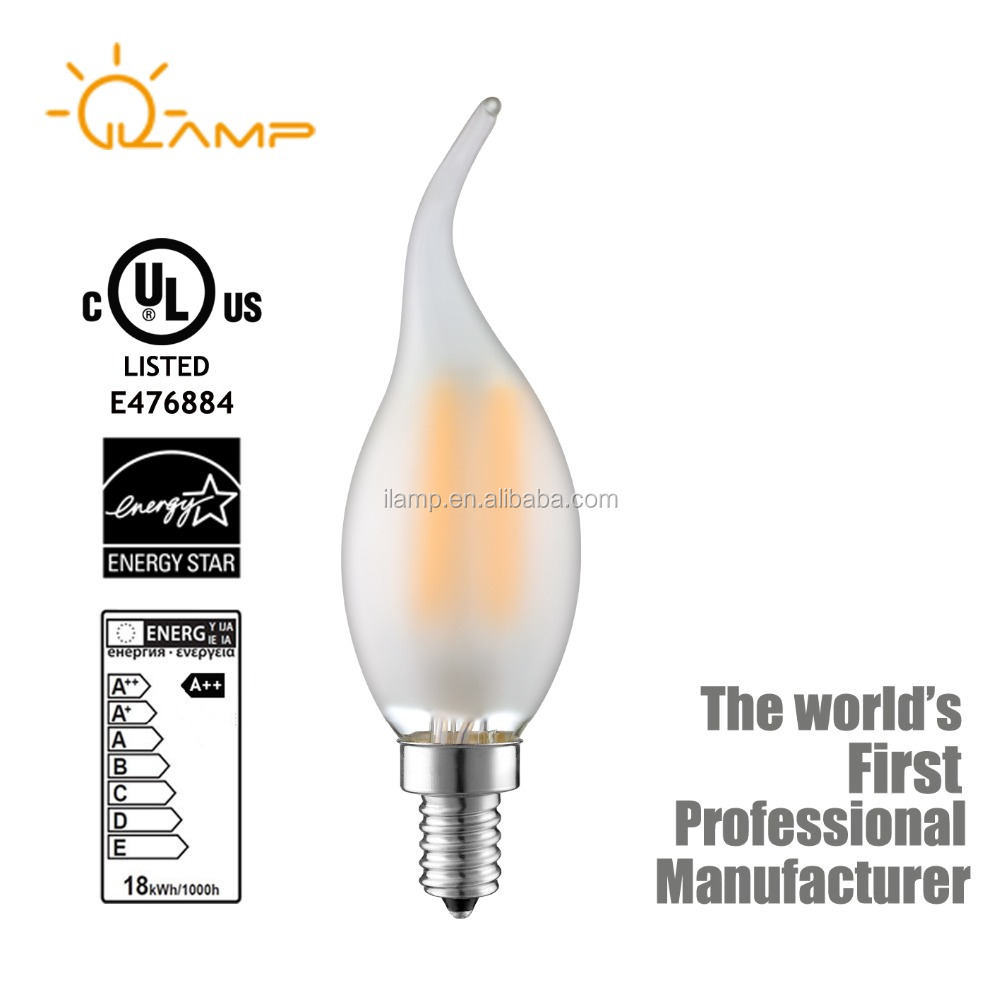 Led candle bulb cap small edison E12 E14 clear glass filament light bulb