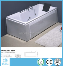 HG-8810 High quality CE modern free standing rectangular custom size bathtubs with 7 massage jets