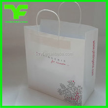 White paper twist handle France customer's OEM 120gsm white kraft paper bags