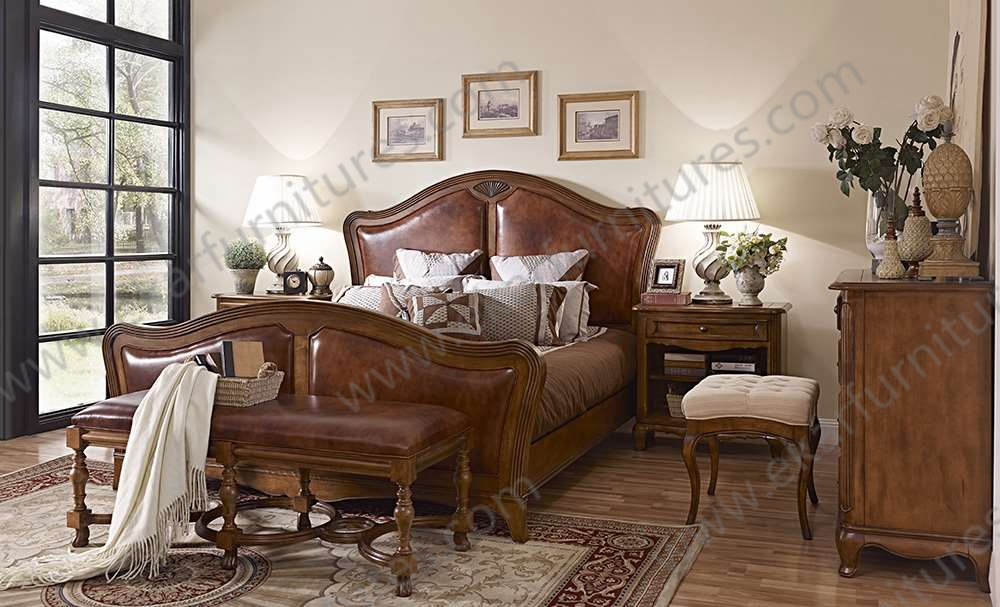 King size beds wooden beds home goods furniture luxury king bedroom sets wood - Chambre style vintage ...