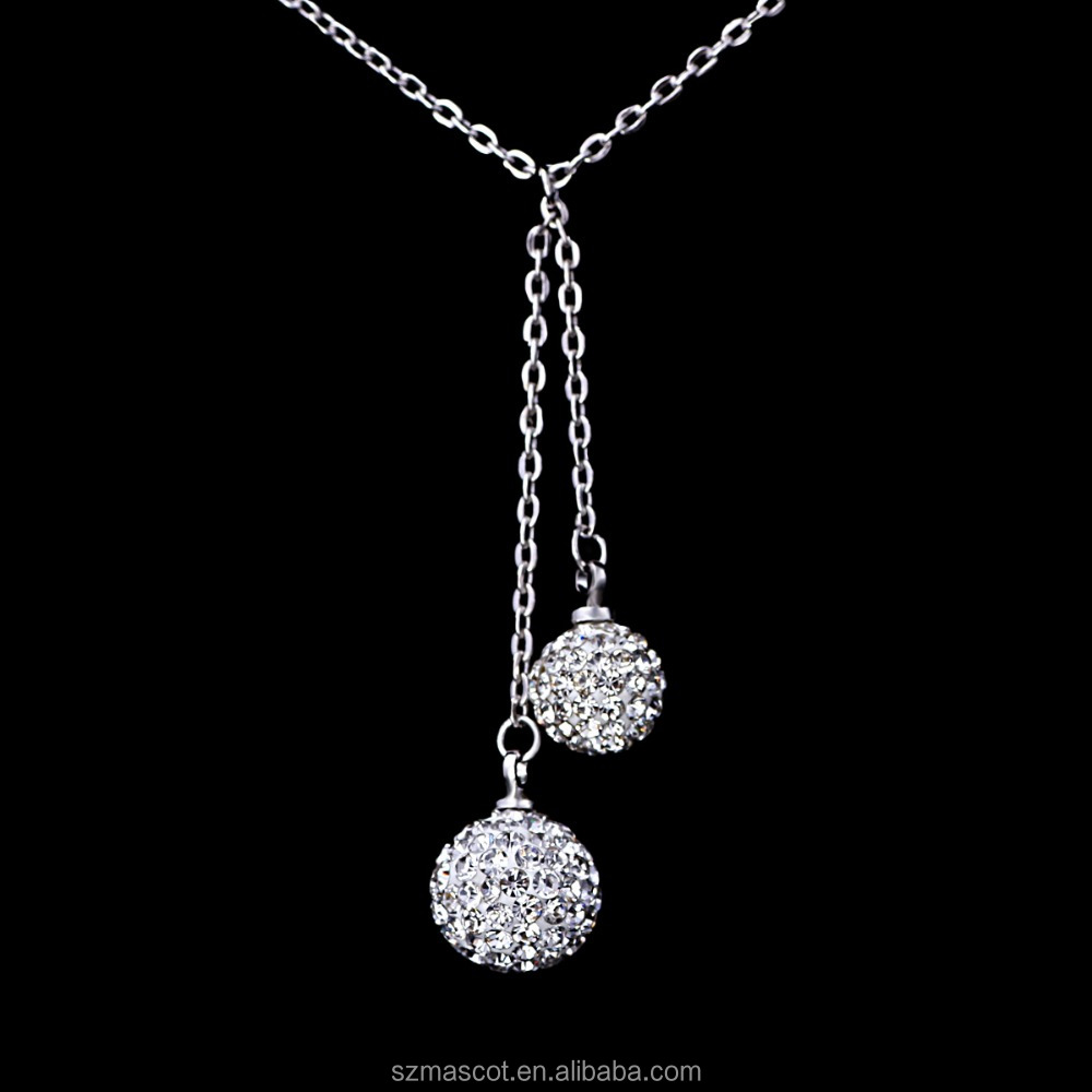 Delicate Sterling Silver Y Shape Double Dangling Crystal Beads Necklace