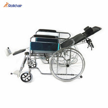 Drop-down Armrest Folding Steel Commode Wheelchair For Sale SC8020A