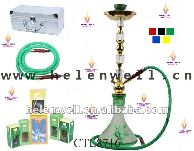 Green Smoke Hookah/Large Size Hookah Shisha With Beautiful Hookah Glass Vase