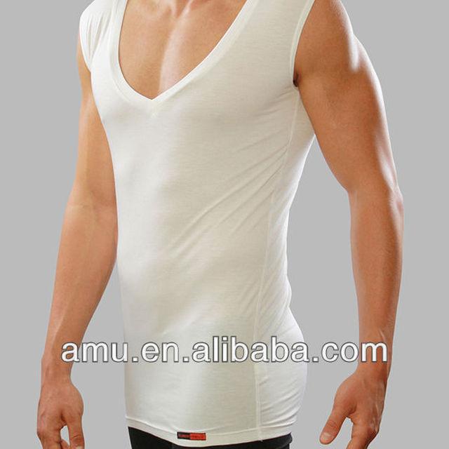 Mens fashion white tshirt custom deep v-neck sleeveless undershirt