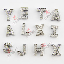 Wholesale metal rhinestone bulk letter charms (JP08)