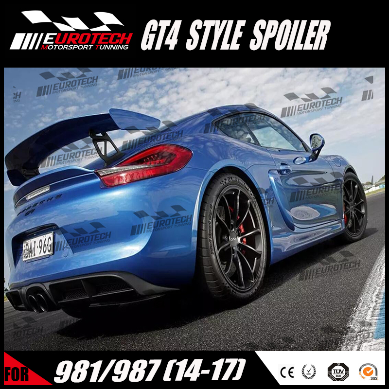 High quality new model GT4 style carbon /frp spoiler aluminium holder For porsche 981/987 cayman 2014-2017