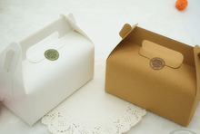 Food grade Disposable White/brown kraft paper board boxes with handle