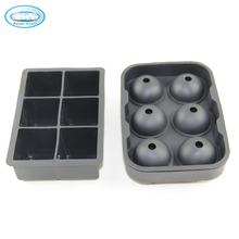 2 in 1 silicone ice ball maker mold set 6-sphere ice ball and 6-square ice tray