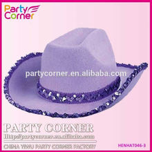 Sequin Cowboy Hat Purple With Band