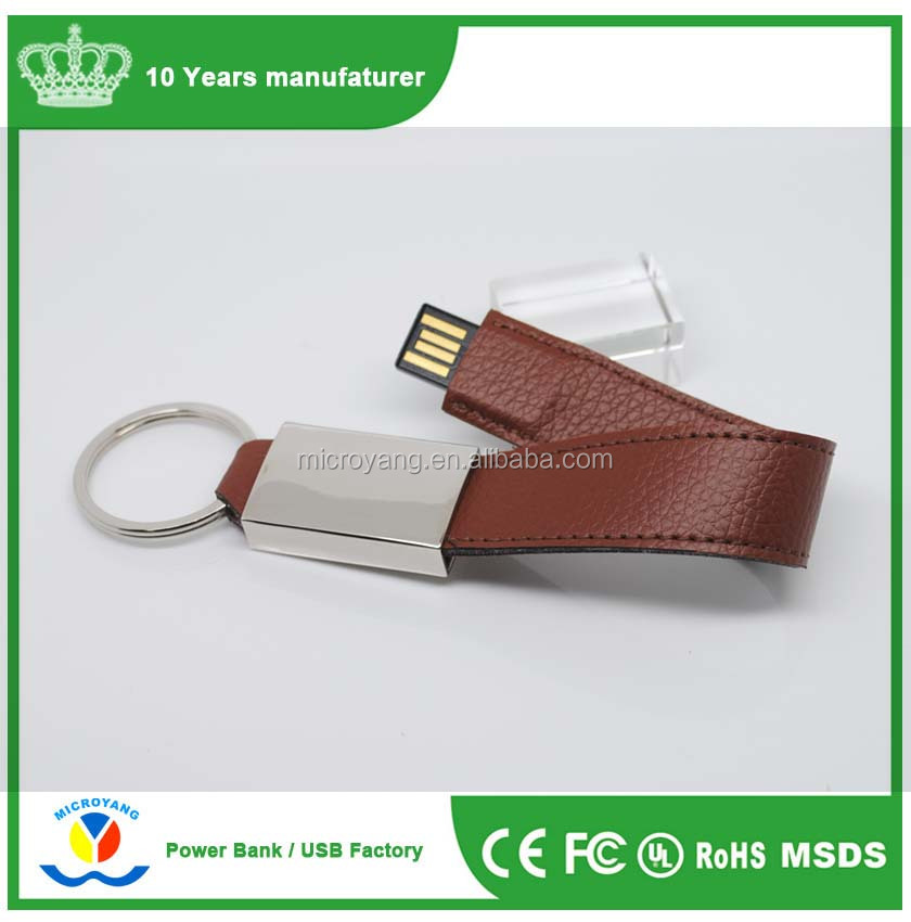 Key Ring Custom Pendants bracelet Leather PU USB Flash Drive With CE Rohs FCC