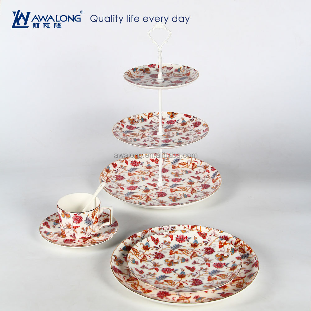 Flower Painting Colorful Pretty Design Bone China Ceramic Plate Cup Tea Coffee Set Antique Ceramic Afternoon Tea Sets