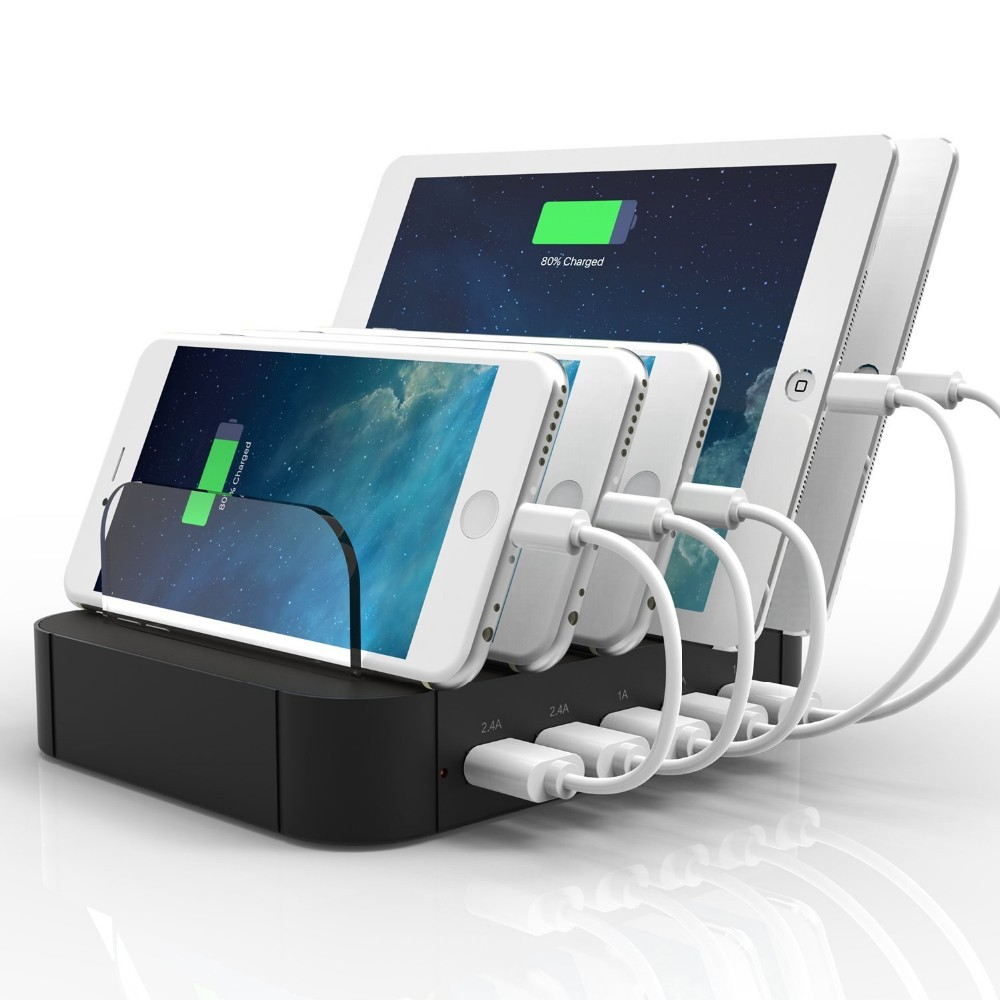 2017 <strong>portable</strong> 5 port mutil usb charge box tablet cell mobile phone charging station
