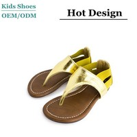 Gold & silver rubber sole little girls sandals stitching band closure cute sandals for girls