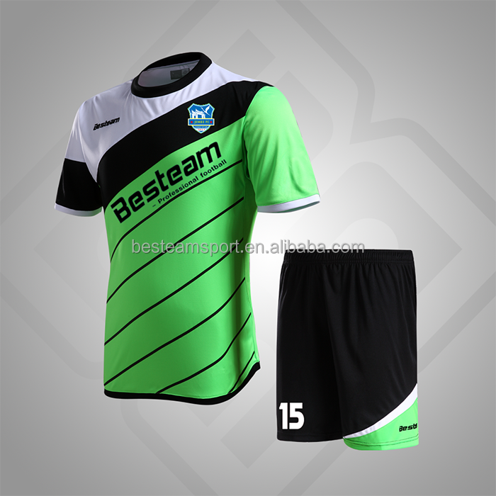 Flash Green / Black / White Smart breahable different types of soccer uniform